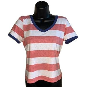 Derek Heart Striped Pink and White Simple Tee